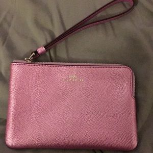 Purple iridescent coach wristlet